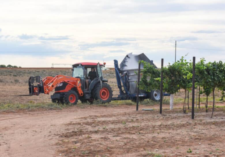 Albarino Harvest 2020 - The tractor waiting for the harvester.