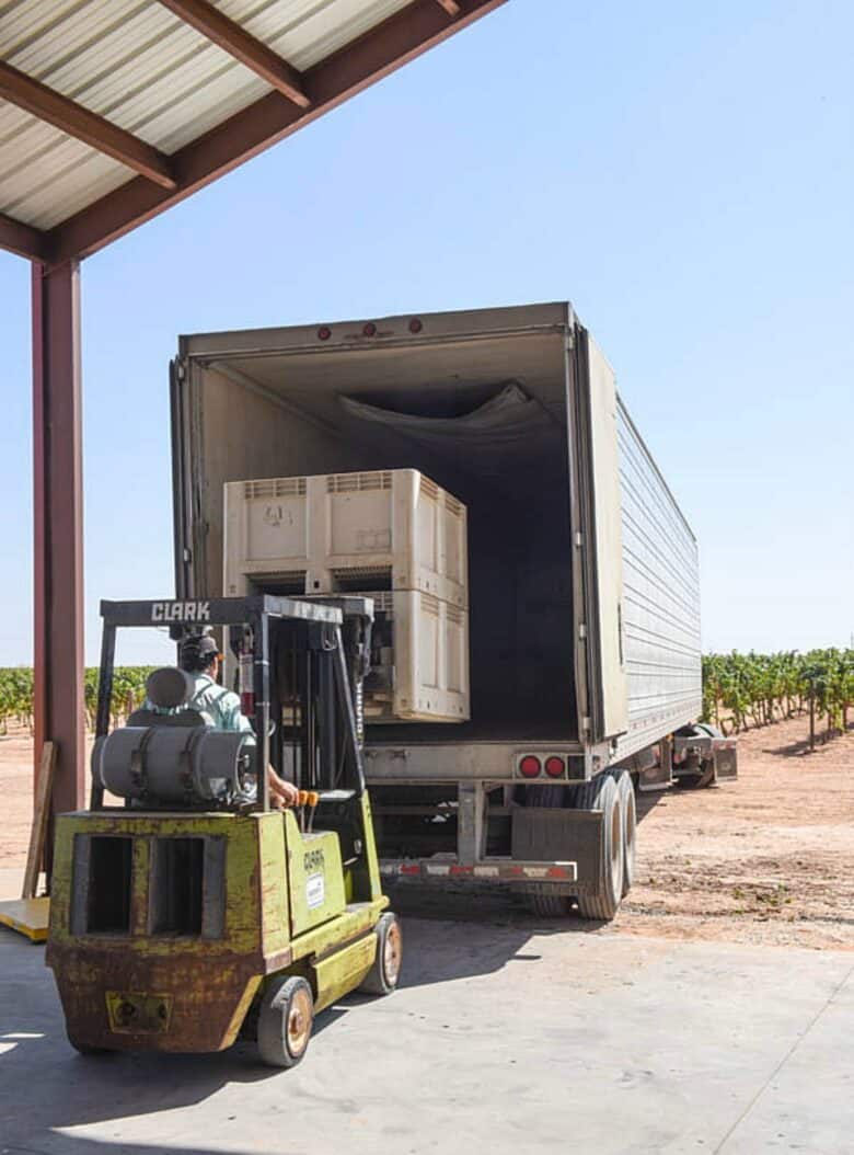 Loading semi with double stacked bins