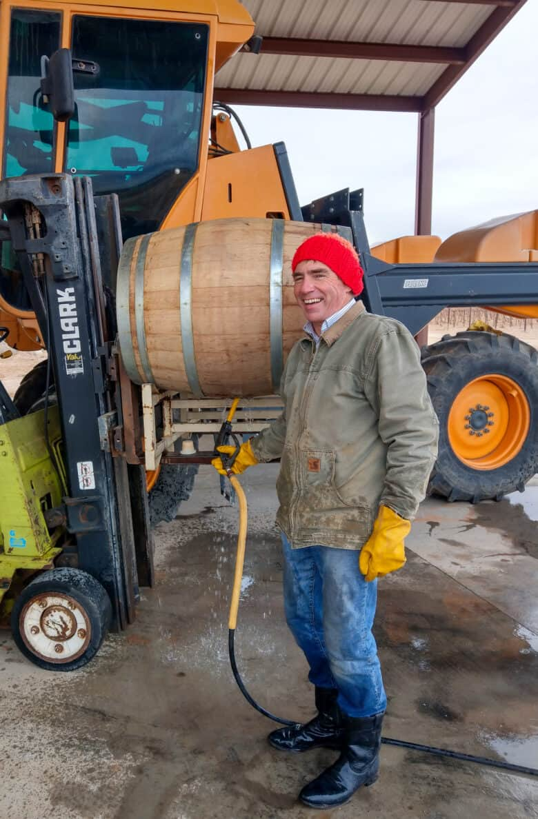 John steaming a barrel and laughing.
