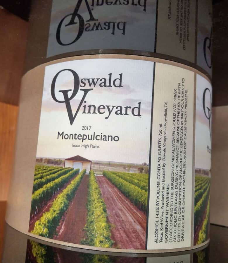 Labeling 2017 Vintage - a roll of Montepulciano labels on the label machine.