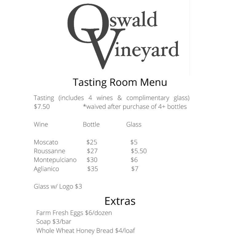 Oswald Vineyard Tasting Room Menu give the wines offered for purchase.
