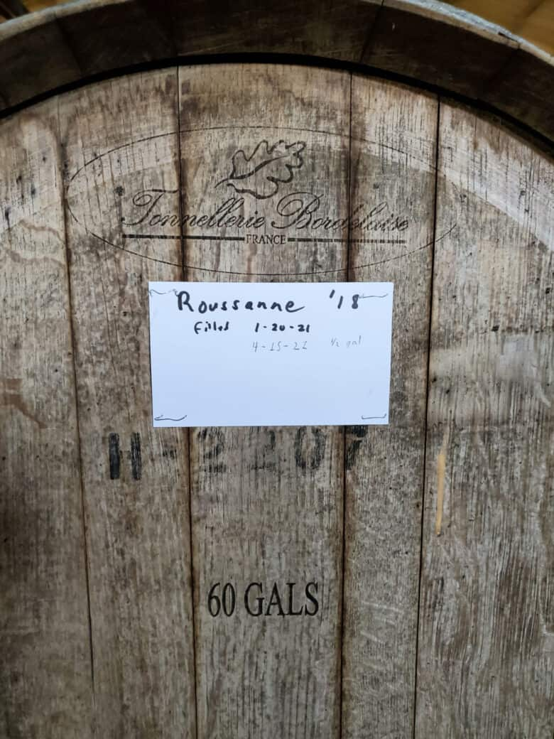 Wine - from Tanks to Barrels - Labeled barrels.