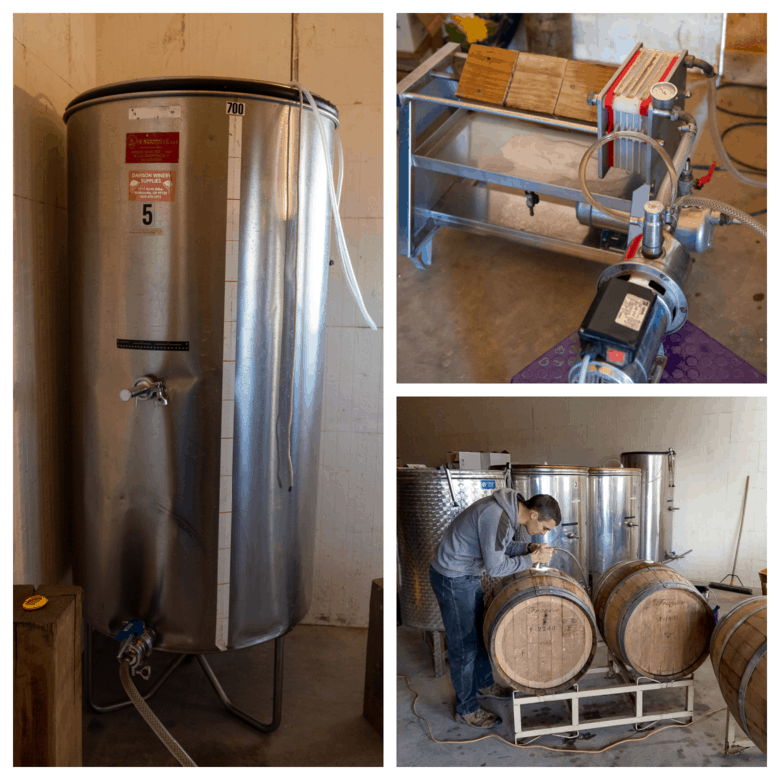 Wine - from Tanks to Barrels - Collage of tank, filter and barrel pictures.