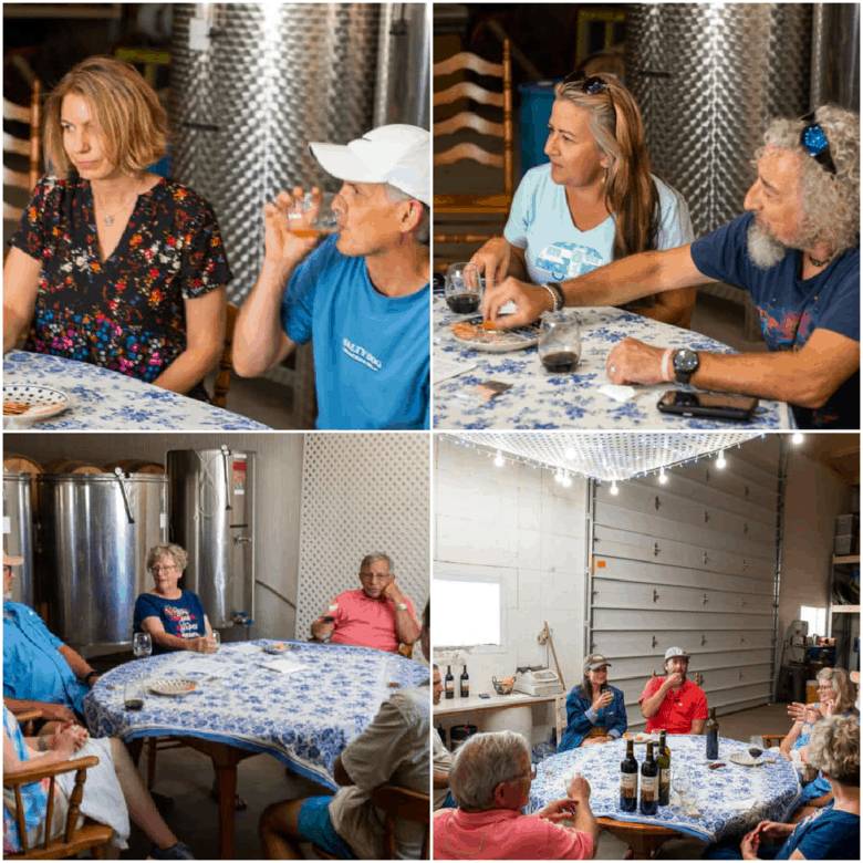 Collage of 4 images showing Wine Tasting at Oswald Vineyard