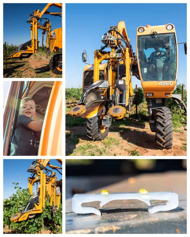 Wire Raising - Collage of pictures of the vineyard workers and the machine.